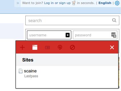 LastPass password selector